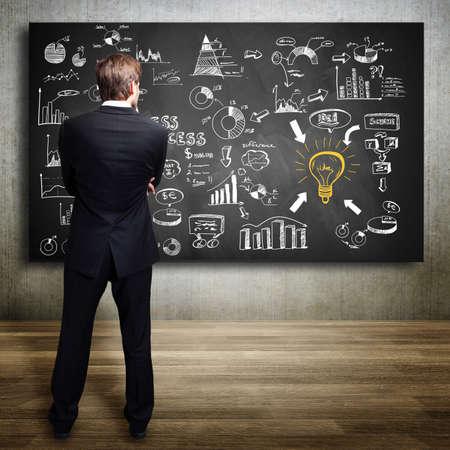 sustentabilidad: hombre de negocios de pie delante de una pizarra con muchos diagramas