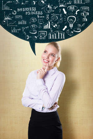 topics: young blonde businesswoman thinking about many business topics  Stock Photo