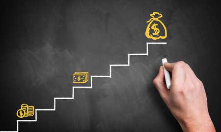 argent: escalier vers le grand argent Banque d'images