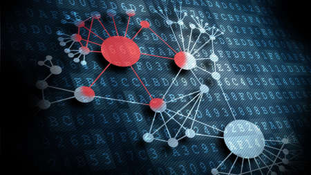 computer network diagram: virus infection is spreading out in a network  Stock Photo