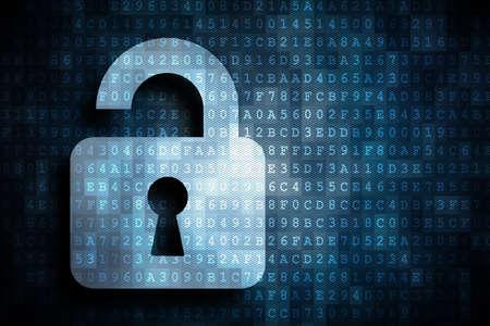 opened lock as a symbol for digital risks  Foto de archivo