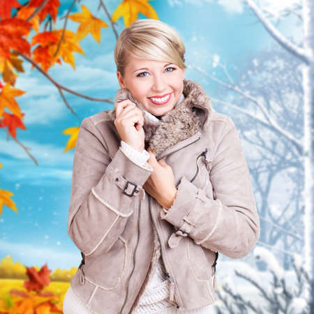 woman standing in front of changing seasons  photo