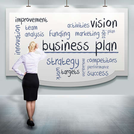 businesswoman thinking about a business plan  photo