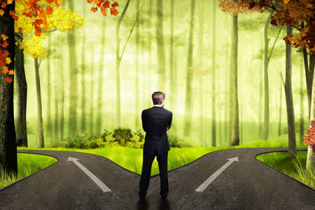 ways: businessman has to decide which direction is better