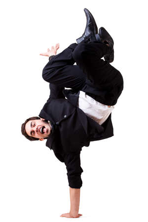 young businessman doing a handstand