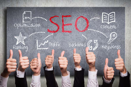 job engine: many thumbs up to search engine optimization plan Stock Photo