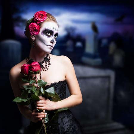 traje mexicano: estilo del cráneo del azúcar