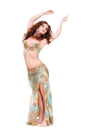 attractive dancing bellydancer on isolated background
