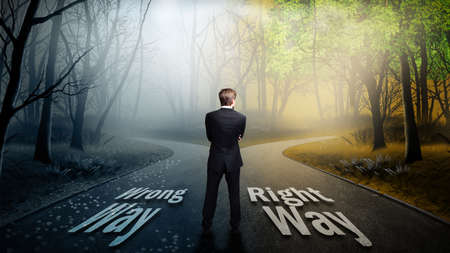 life change: businessman has to choose between wrong and right way