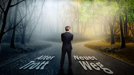 """man staat op een kruispunt met de borden """"oude routine"""" naar links en """"nieuwe manier"""" om de juiste"""
