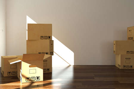 empty room with moving boxes  photo