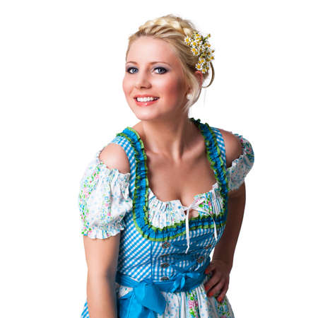 dirndl: attractive young blonde girl in a traditional dirndl