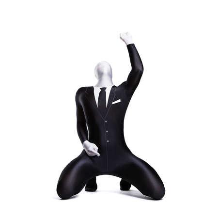 willingness: man in morph suit in winning pose