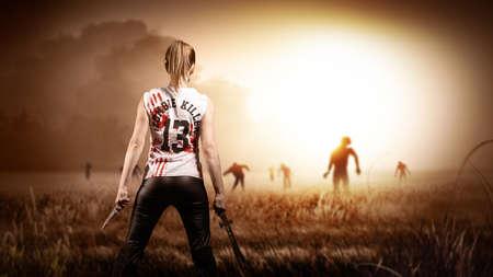 escena como en una película de terror con una mujer con un machete y un cuchillo y de pie en un campo con zombies se acercan