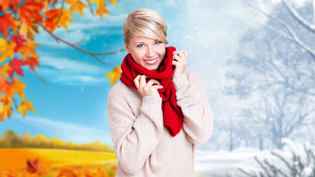 changing seasons: woman standing in front of changing seasons Stock Photo