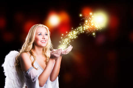 angel hair: attractive blonde angel with christmas magic