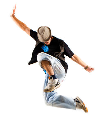 young happy jumping man photo