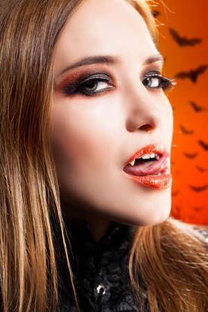 attractive vampire woman photo