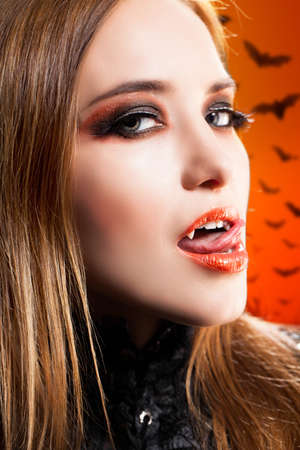 attractive vampire woman photo