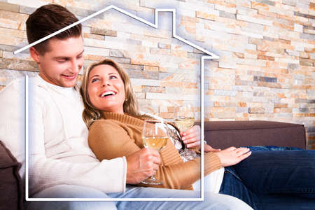 happy young couple in their own home photo