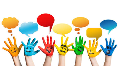 many colorful hands with smileys and speech bubbles