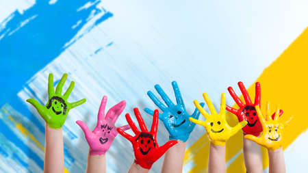 many colorful hands with smileys Stockfoto