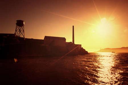 sea view: Iceland Alcatraz and Golden Gate Bridge of San Francisco in sunset