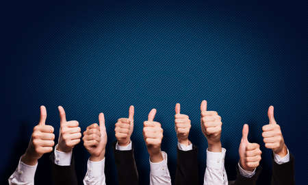 opinions: many thumbs up Stock Photo