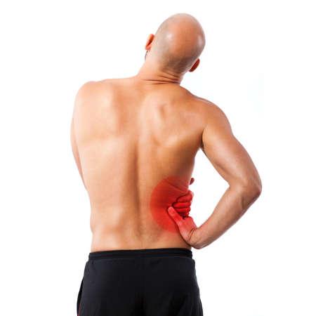 symbolized: man holding his side with symbolized pain Stock Photo