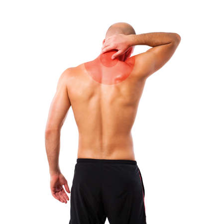 sore muscles: man massaging his neck with symbolized pain