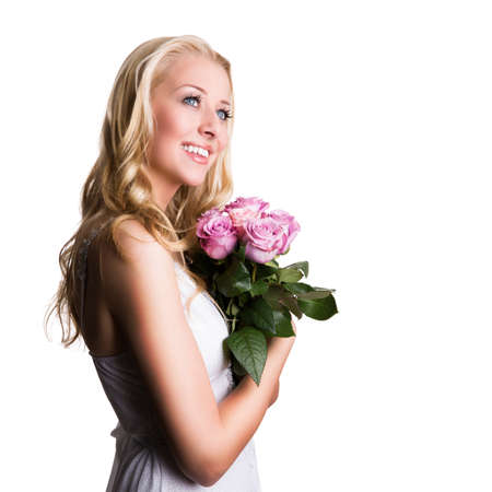 blonde haired: young blonde woman with roses
