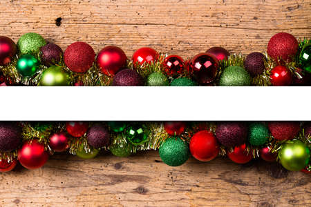 themed: christmas balls on wood with text space