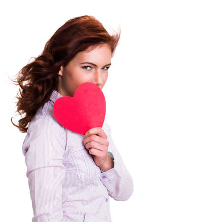 provocative couple: young woman with a heart Stock Photo