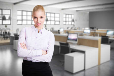 attractive woman in front of an office photo