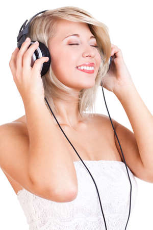 attractive young woman listening to music photo