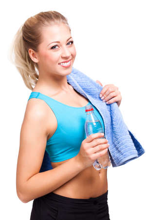attractive blond woman after workout photo