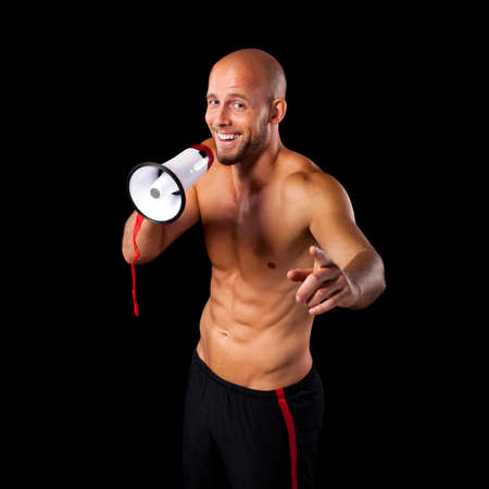 personal trainer with a megaphone photo