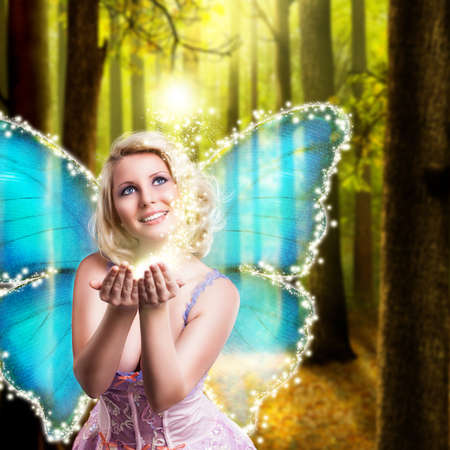 fairy with some magic in front of an enchanted forest