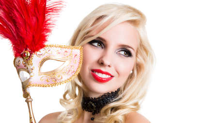 merrymaking: beautiful woman with golden mask