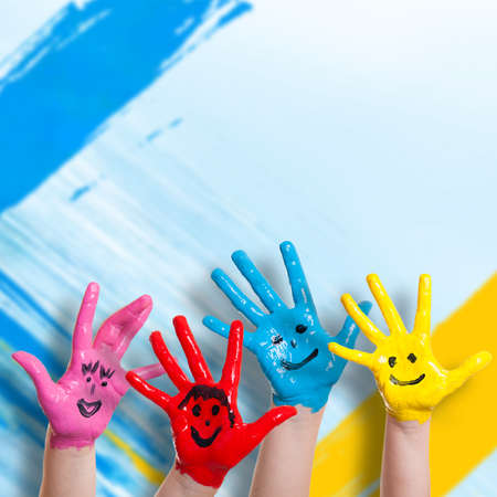 kids painted hands: colorful painted hands