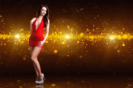 classy background: attractive woman in a sexy dress Stock Photo