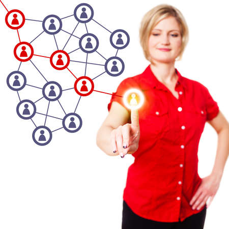 word of mouth: young woman selecting a person and starts a word of mouth chain Stock Photo