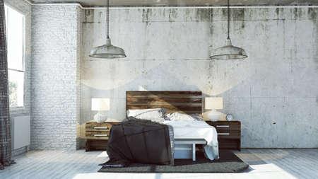 Gerenderd slaapkamer in industriële stijl Stockfoto - 34700071