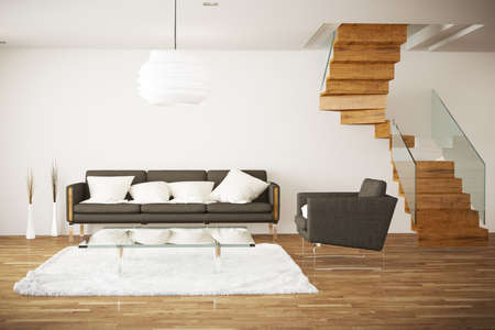 rendered living room Standard-Bild
