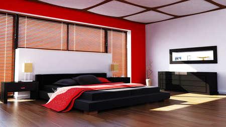 rendered modern bedroom photo