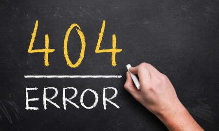 broken link: hand drawing 404 error on a chalk board Stock Photo