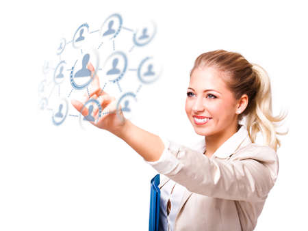 activating: young businesswoman selecting a person out of social network using a virtual interface