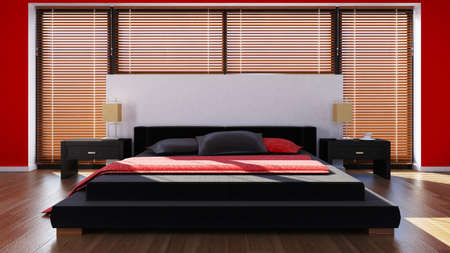 king size: rendered bedroom Stock Photo