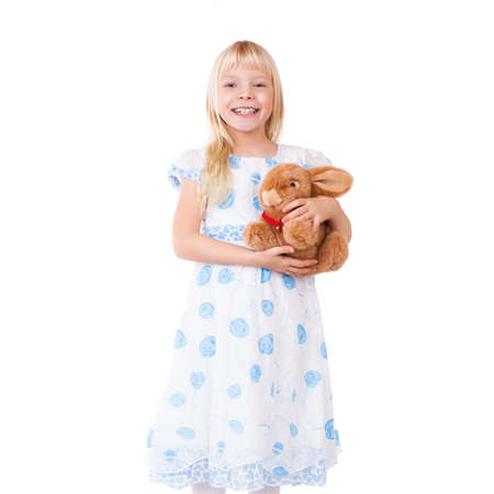 pert: young girl with a plush toy Stock Photo