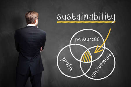 common vision: businessman in front of a diagram about sustainability Stock Photo